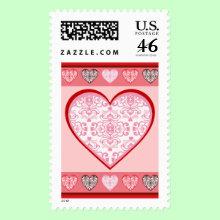 Valentine's Day Damask Hearts Postage Stamp - A pretty damask stamp for all your Valentine's Day cards!
