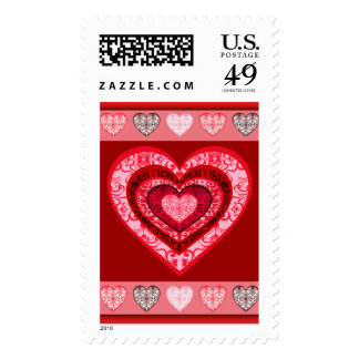 Valentine's Day Damask Hearts Postage Stamp