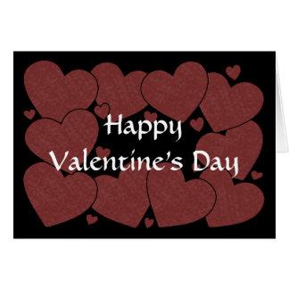 Valentine's Day - Dark Red Hearts Card