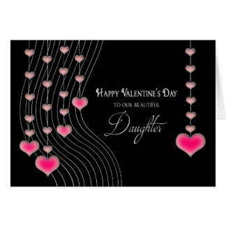 Valentine's Day - Daughter -Black/Pink Hearts Card
