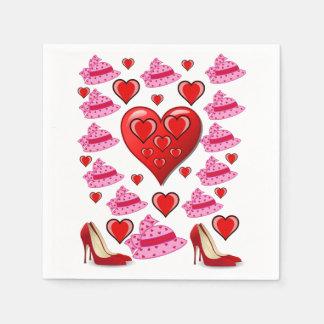 Valentine's day decorative heart shaped napkin