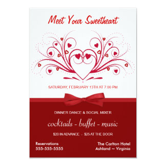 Valentine's Day Dinner Dance - Business Style 5x7 Paper Invitation Card