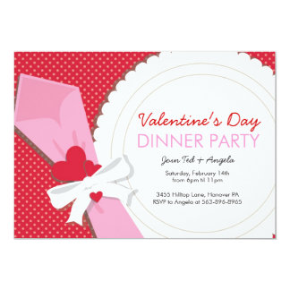 Valentine's Day Dinner Party 5x7 Paper Invitation Card