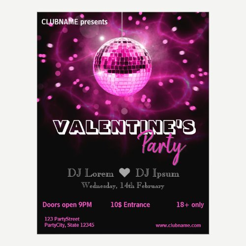Valentine's Day Disco Ball - Party Flyer