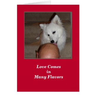 Valentine's Day Dog and Bald Man Greeting Card