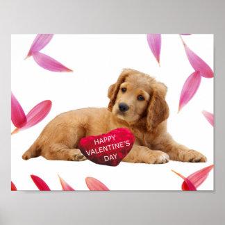 Valentine's Day Dog heart poster