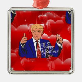 valentines day donald trump metal ornament