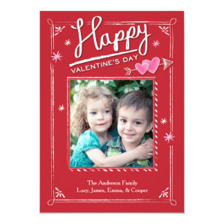 Valentine's Day Double Heart and Arrow 5x7 Paper Invitation Card
