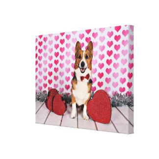 Valentine's Day - Dunkin - Corgi Canvas Print