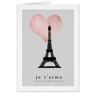 Valentine's Day Eiffel Tower with Rose Gold Heart Card