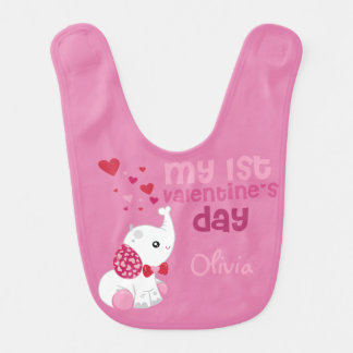 Valentine's Day Elephant Baby Bib