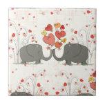 Valentine's Day Elephants Ceramic Tiles