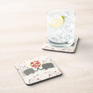 Valentine's Day Elephants Drink Coaster