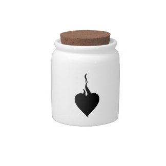 Valentine's Day Flaming Heart Candy Jar