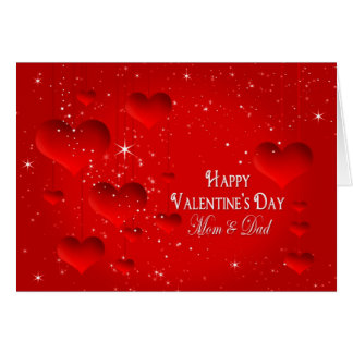 Valentine's Day-Floating Hearts/Stars - Mom & Dad Card