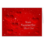 Valentine's Day-Floating Hearts/Stars - Mom & Dad Greeting Card