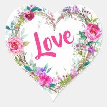 Valentine's Day floral Heart Sticker