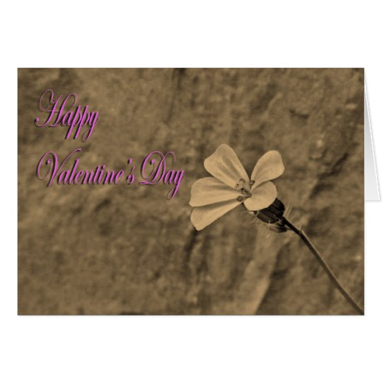 Valentines Day Flower and Stone in Sepia Card