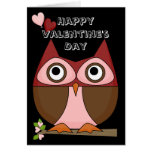 Valentine's Day - Folksy Owl & Heart Balloons Greeting Cards