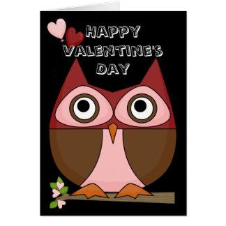 Valentine's Day - Folksy Owl & Heart Balloons Card