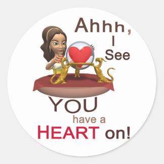 Valentine's Day Fortune Teller Round Stickers