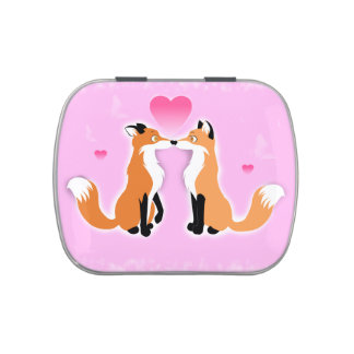 Valentines Day Foxes Jelly Belly Tins