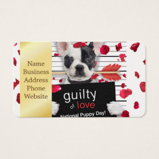 Valentine's day french bulldog business card