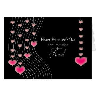 Valentine's Day - Friend - Black/Pink Hearts Card