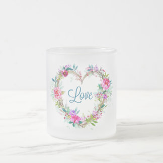 Valentine's Day Frosted Glass Coffee Mug