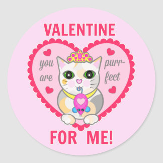 Valentine's Day Funny Calico Cat Lover's Stickers