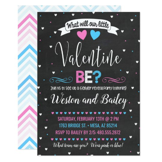 Valentine S Day Gender Reveal Invitation Zazzle Com