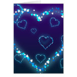 Valentine's Day Gift Blue Bling Heart Love Present Greeting Card