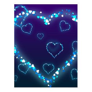 Valentine's Day Gift Blue Bling Heart Love Present Postcard