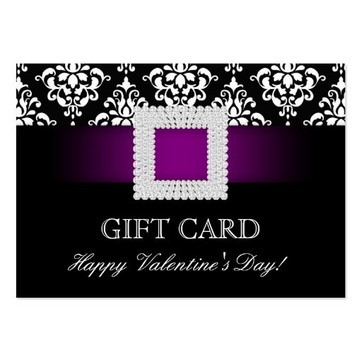 Valentine's Day Gift Card Purple Jewel Damask Business Card Templates