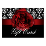 Valentine's Day Gift Card Red Rose Floral Damask Large Business Cards (Pack Of 100)