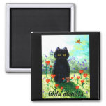 Valentine's Day Gift Cat Art Hearts Creationarts 2 Inch Square Magnet