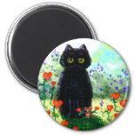 Valentine's Day Gift Cat Art Hearts Creationarts 2 Inch Round Magnet