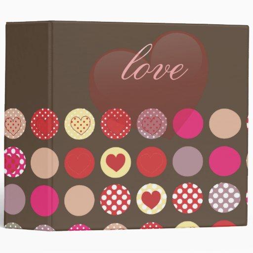 Valentine's day gift, hearts vinyl binders