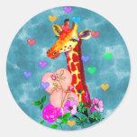 Valentine's Day Giraffe Classic Round Sticker
