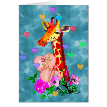 Valentine's Day Giraffe Greeting Card