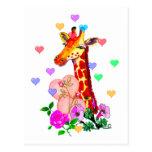 Valentine's Day Giraffe Postcard