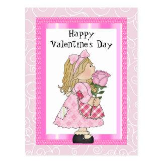 Valentine's Day Girl postcard