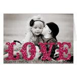 Valentine's Day glitter LOVE Photo Card