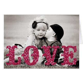Valentine's Day glitter LOVE Photo Greeting Card