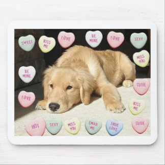 Valentine's Day Golden Retriever Mouse Pad
