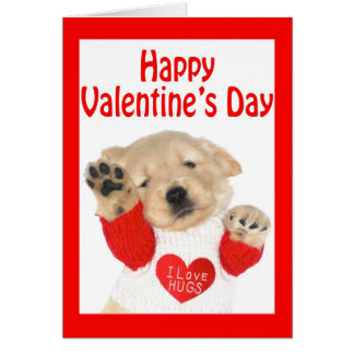 Valentineu0026#39;s Day Golden Retriever Puppy Card