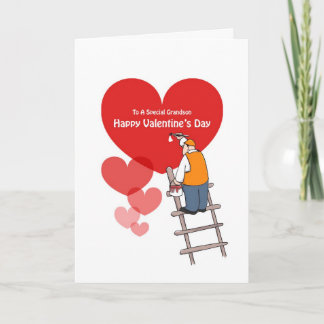 Valentine's Day Grandson Cards, Red Hearts Holiday Card