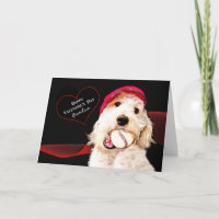VALENTINE'S DAY - GRANDSON - DOG WITH BASEBALL HOLIDAY CARD