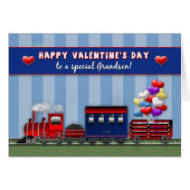VALENTINE'S DAY - Grandson - Train- Heart Balloons Card