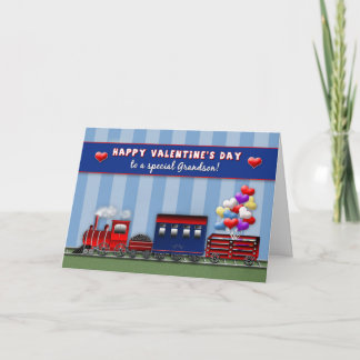 VALENTINE'S DAY - Grandson - Train- Heart Balloons Holiday Card